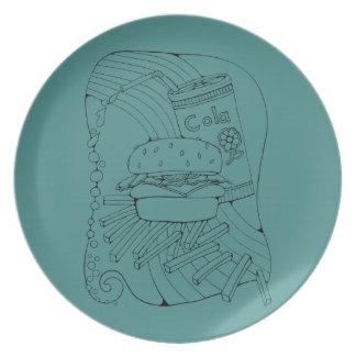 Burger Fries Line Art Design Plate
