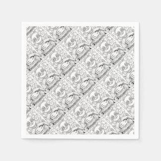 Burger Line Art Design Disposable Serviette