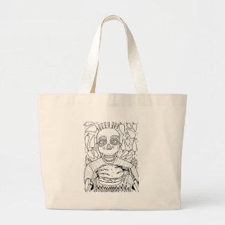 Burger Line Art Design Large Tote Bag