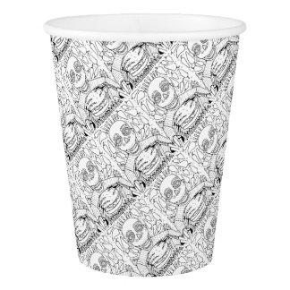 Burger Line Art Design Paper Cup