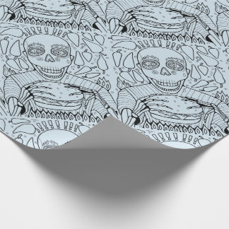 Burger Line Art Design Wrapping Paper