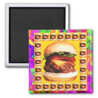 Burger Lover Square Magnet