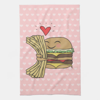 Burger Loves Fries Tea Towel