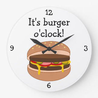 Burger O'Clock fun food graphic Clocks