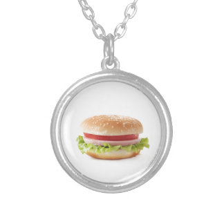 burger silver plated necklace
