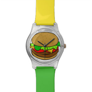 Burger Time Red Green & Yellow Hamburger Watch