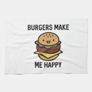 Burgers Make Me Happy Tea Towel
