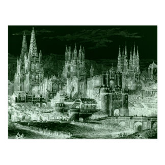 Burgos Cathedral Gothic Engraving Negative Vintage Postcard