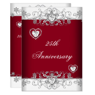 Burgundy 25th Wedding Anniversary Diamond Hearts Card