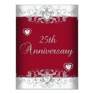 "Burgundy 25th Wedding Anniversary Diamond Hearts 5.5"" X 7.5"" Invitation Card"