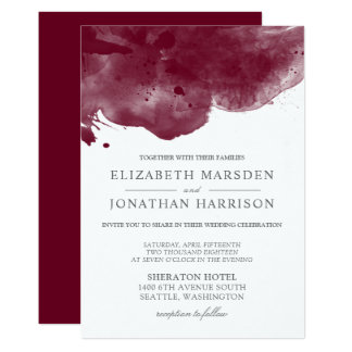Burgundy Abstract Watercolor Modern Wedding Card