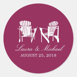 Burgundy Adirondack Chairs | Wedding Classic Round Sticker