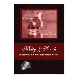 Burgundy and Black Striped Gay Wedding 13 Cm X 18 Cm Invitation Card