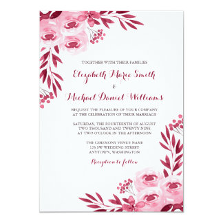 Burgundy and Blush Watercolor Floral Wedding 13 Cm X 18 Cm Invitation Card