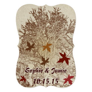 Burgundy and Brown Tree Wedding Invitation