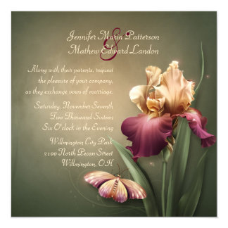 Burgundy and Cream Iris Wedding Invitation