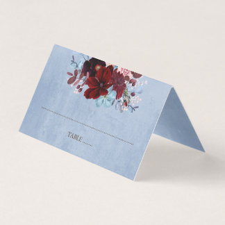 Burgundy and Dusty Blue Floral Watercolor Place Card