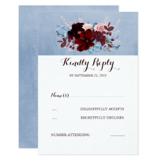 Burgundy and Dusty Blue Wedding RSVP Card