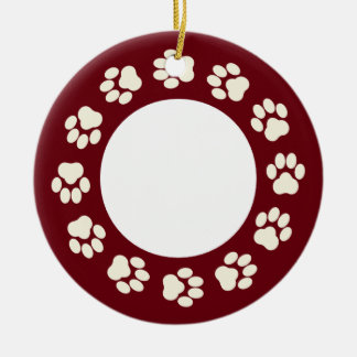 Burgundy-and-Ecru Paw Print Photo Ornament