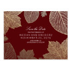 burgundy and gold leaves fall save the date postcard