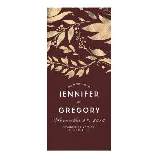 Burgundy and Gold Leaves Fall Wedding Programs Rack Card