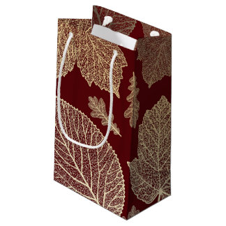 Burgundy and Gold Leaves Fall Wedding Small Gift Bag