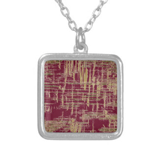 Burgundy and Gold Modern Art Silver Plated Necklace