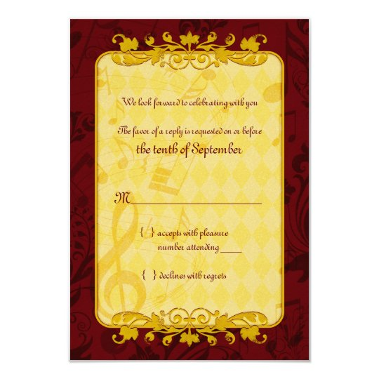 Burgundy and Gold Music Notes Wedding RSVP card