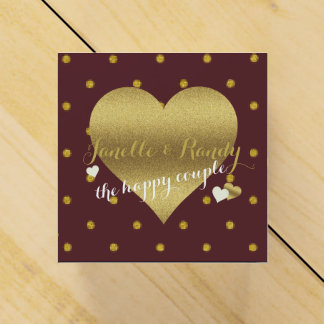 Burgundy And Gold Polka Dots Party Favor Boxes
