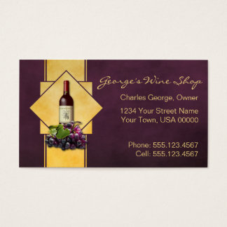 Burgundy and Gold Wine Shop Business Card