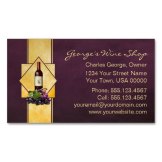 Burgundy and Gold Wine Shop Magnetic Business Card