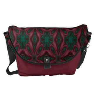 Burgundy and Green Floral Courier Bag