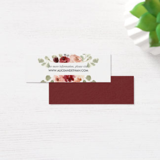 Burgundy And Greenery Floral Wedding Website Mini Business Card