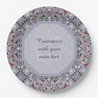 Burgundy and Grey Elegant Pattern 9 Inch Paper Plate