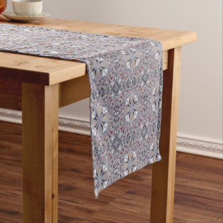 Burgundy and Grey Elegant Pattern Short Table Runner