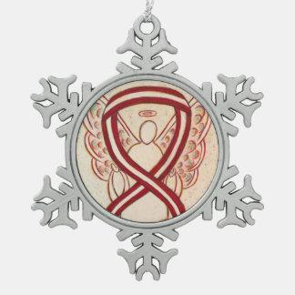 Burgundy and Ivory Awareness Ribbon Angel Ornament