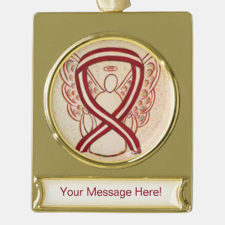 Burgundy and Ivory Awareness Ribbon Angel Ornament Gold Plated Banner Ornament