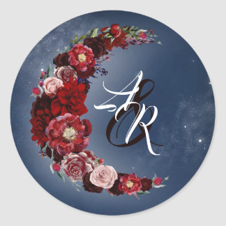 Burgundy and Navy Blue Floral Moon Wedding Classic Round Sticker