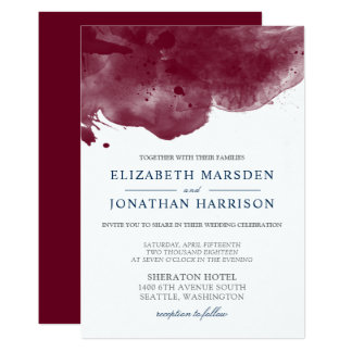 Burgundy and Navy Watercolor Modern Wedding Card