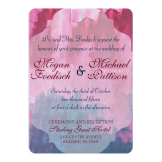 Burgundy and Navy Watercolor Wedding Invitation