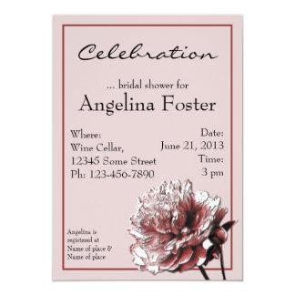 Burgundy and Pink Peony Bridal Shower 13 Cm X 18 Cm Invitation Card