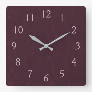 Burgundy and Pink Square Wall Clock
