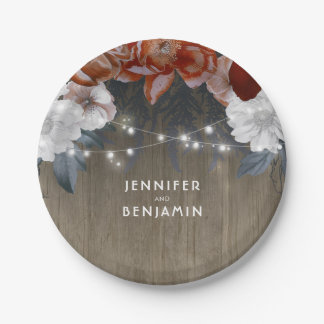 Burgundy and Plum Floral Rustic Wood String Lights Paper Plate