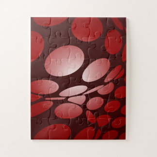 Burgundy and Red warped Dots Jigsaw Puzzle