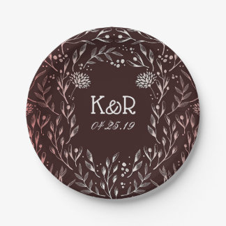 Burgundy and Rose Gold Florals Paper Plate