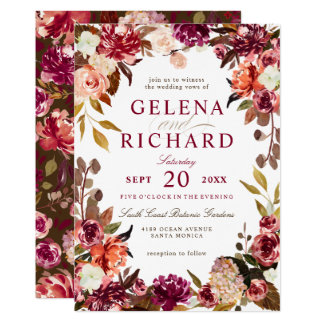 Burgundy and Rust Watercolor Florals Wedding Card