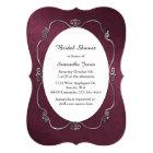 Burgundy and Silver Bridal Shower Invitation