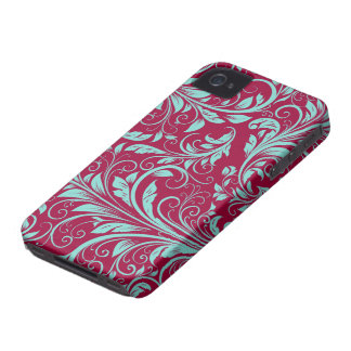 Burgundy and teal blue Damask Floral Patterns iPhone 4 Case