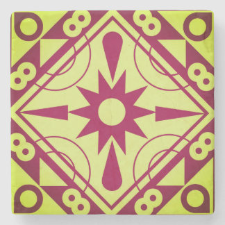 Burgundy and Wasabi Geometric Stone Coaster