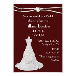 Burgundy and White Bridal Shower Invitation